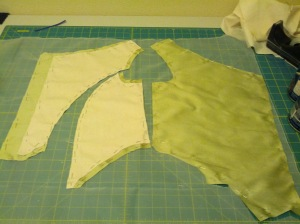 Silk organza is so annoyingly widgy, so used a million pins.