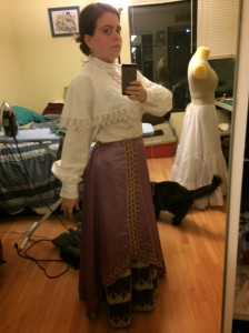 Full outfit (in dire need of a corset and petticoats)