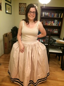 Modelled with an incorrectly-shapedRenaissance petticoat, but you get the idea.